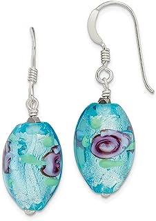 Vidrio de Murano pendientes 14 mm cuadrado azul patrón flores multicolor 925er plata