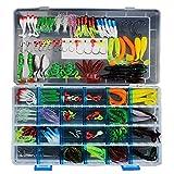 GossipBoy - Lot de 146 leurres de pêche souples, assortiment mixte universel avec boîte à leurres