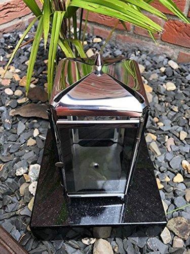Stone & More Grave Lantaarn RVS Inclusief Graniet Basis Zwart 20 cm x 20 cm x 5 cm Kerkhof Licht RVS Graf Licht met Basis