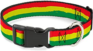 """Buckle-Down 9-15"""" Rasta Stripes Painted Green/Yellow Red Plastic Clip Collar 1"""" Wide - Fits 15-26"""" Neck - Large PC-W31836-L"""