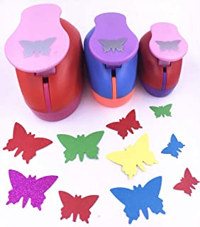 TECH-P Set of 3PCS (2 inch+1.5 inch+1inch) Craft Punch Set Paper Punch Paper Punch Tool Eva Punches for Making Arts Crafts Projects Cards Scrapbooking Garland Hanging Decorations (Butterfly)