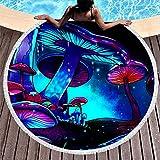 Tobgreatey Toalla de playa redonda con borlas Fantasy Glowing seta para niños, color blanco, 150 cm