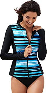 Womens Long Sleeve surf Swimwear, Front Zip Swimming Top Diving