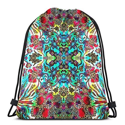 Floral Fantasy Collection - Flower Frenzy Sport Bag Gym Sack Drawstring Backpack for Gym Shopping