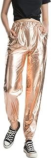 ZFCGEE Women's Metallic Shinny Pants, Casual Holographic Jogger Sweatpants Punk Hip Hop Trousers Streetwear