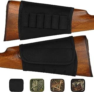 BRONZEDOG Adjustable Buttstock Rifle Cartridge Ammo Holder 12 16 Gauge Nylon Camo Shell Holder Hunting Rest Pouch Bag Stock Right Handed Shotgun