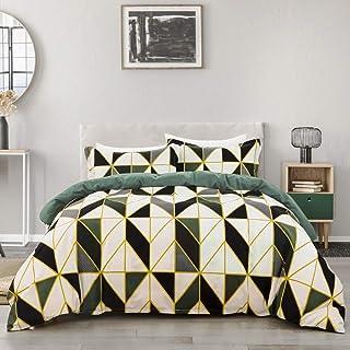 YIUA Parure de lit 135 x 200 cm - Motif géométrique - Housse de couette avec taie d'oreiller à fermeture éclair - Housse d...