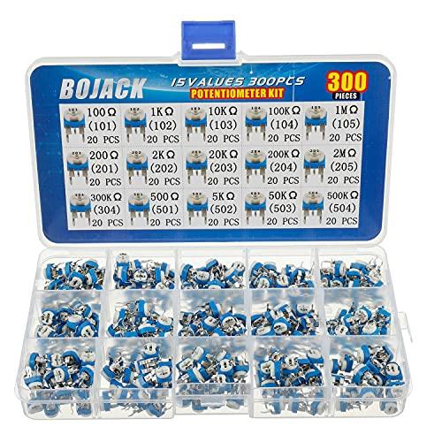 BOJACK 15 Valores 300 piezas 100 Ohm- 2M Ohm Resistencia variable Kit de surtido de Potenciómetros de 6 mm Embalado en una caja de plástico transparente