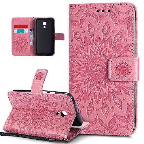 Kompatibel mit Motorola Moto G 2. Generation Hülle,Prägung Mandala Blumen Sonnenblume PU Lederhülle Flip Hülle Cover Ständer Etui Wallet Tasche Hülle Schutzhülle für Motorola Moto G 2. Generation,Rosa