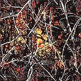 Orange und schwarzer Baumwollstoff mit Bäumen und