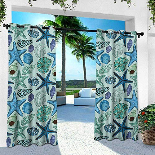 leinuoyi Starfish, Outdoor Curtain Ends, Aquarium Inspired Composition Tropical Seashells and Scallops Cockles and Clams, for Gazebo W96 x L108 Inch Multicolor