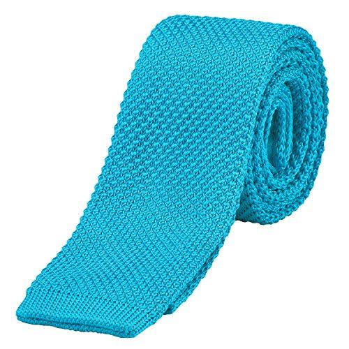 DonDon corbata de punto estrecha de color - turquesa