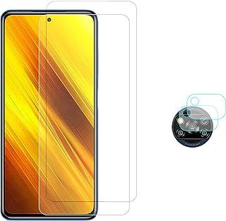 واقي الشاشة من الزجاج المقسى لهاتف Xiaomi Poco X3 NFC، طبقة واقية لعدسة الكاميرا لجهاز Xiaomi Poco X3، [2 واقي شاشة + 2 وا...