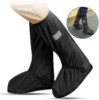 PAWACA impermeable cubiertas de zapatos, 1 par unisex reutilizable antideslizante lluvia nieve Protector de cubrezapatillas impermeable Fundas de botas de cremalleras para tormenta nieve y Moto jardín, Camping
