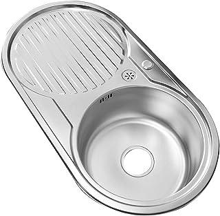 Melko Edelstahlspüle mit Abtropffläche Küchenspüle Einbauspüle Spülbecken inkl. Ablaufgarnitur und Siphon