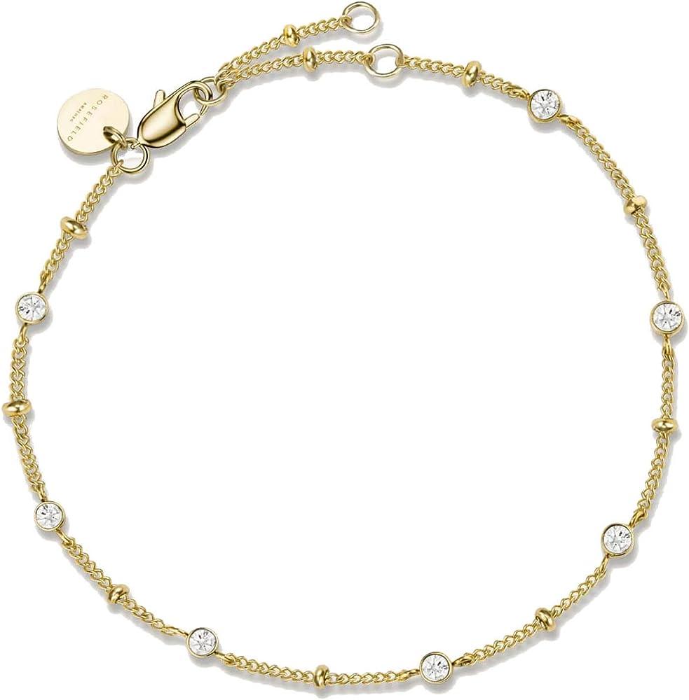 rosefield bracciale da donna con cristalli swarovski in acciaio 316l jbscg-j262