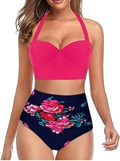 riou Bikini, Bikinis Mujer 2020 Push Up Halter Bikini Traje de baño Acolchado Bra Tops y Braguitas Traje de Baño de Dos Piezas Talla Grande Bañador Vacaciones Ropa de Playa riou