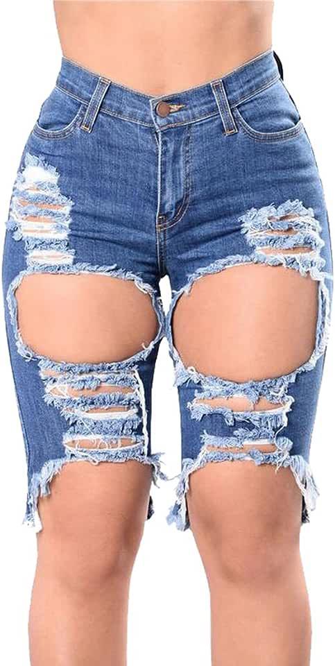 ARTFFEL-Women High Waisted Hole Ripped Stretch Bermuda Capri Denim Jeans Shorts