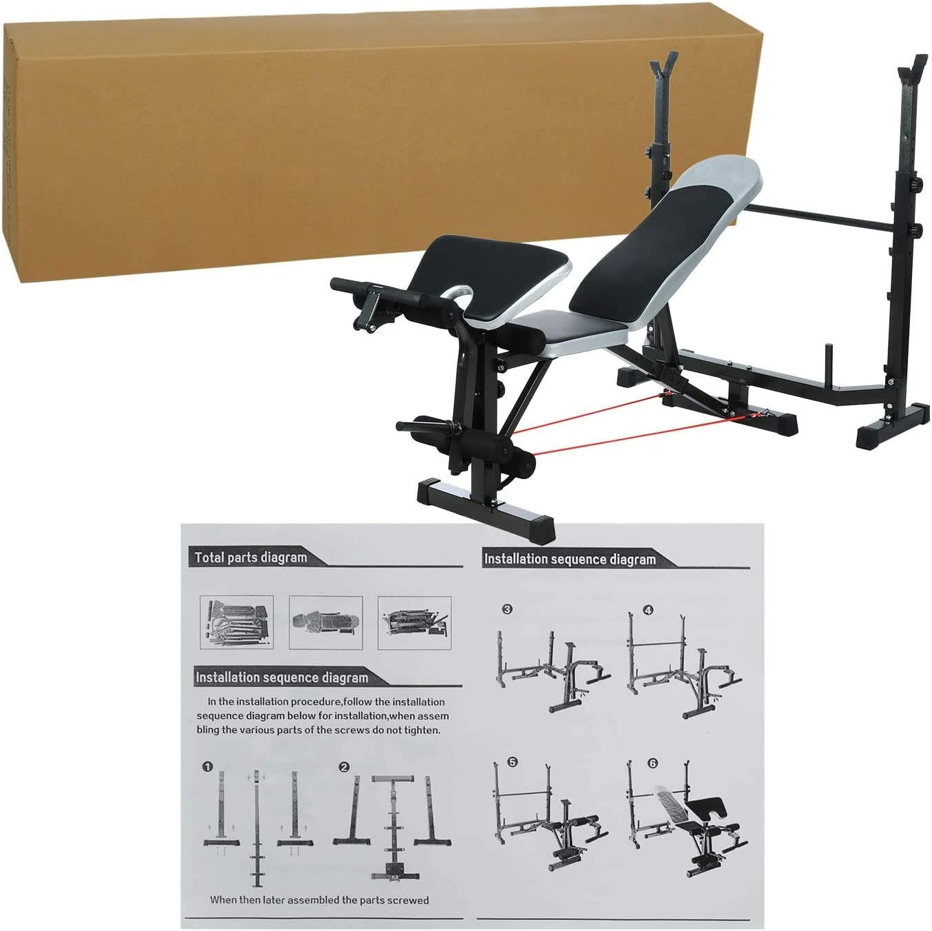 Olympic Weight Bench for Full Body Workout Exercise 6 Levels Adjustable Professional Weight Bench Set for Indoor Gym Home Fitness Exercise Multifunctional Foldable Lifting Flat