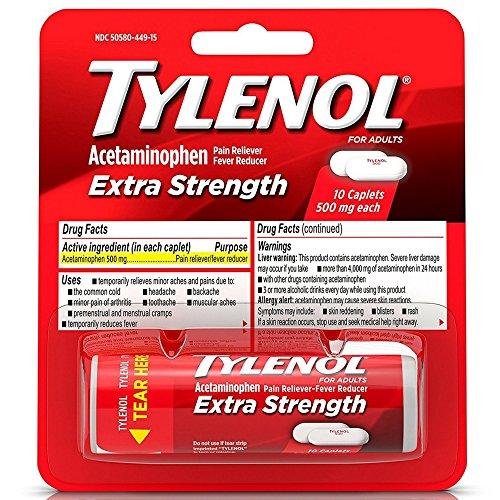 TYLENOL Extra Strength Caplets 10 ea (Pack of 10)