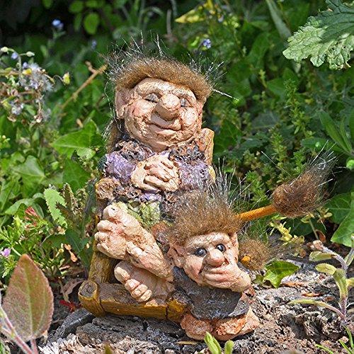 Troll schommelstoel & kind sculptuur kleine nieuwigheid Gift Unieke Home Fantasy Home Decor L13cm