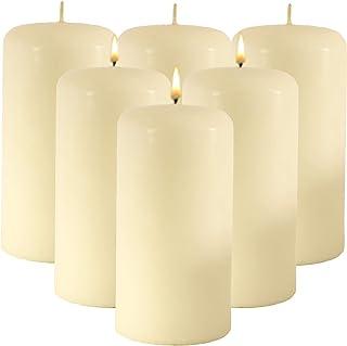 CandleNScent Pressed Pillar Candles Variation (3x6-6 Pack, Ivory)