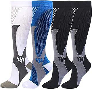 HLTPRO 4 Pairs Compression Socks for Women& Men, 15-20 mmHg Knee High Socks for Running, Sports, Nurse, Medical, Travel