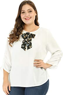 f223760e98e Agnes Orinda Women's Plus Size Loose 3/4 Ruched Sleeve Round Neck Bow Tie  Blouse