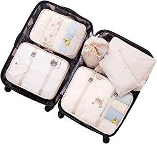 Soqool 6 Travel Packing Organizer Set : 3 Packing Cube System + 3 Small Storage Bags, Shoe Bag/Cloth Packing Set, Great Lu...