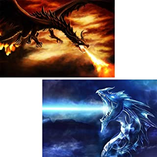 2 Pack 5D Full Drill Diamond Painting Dragon Kit, Ginfonr Dracarys Rhinestone Painting for Adults Embroidery Paint with Diamond Arts Craft Home Decor 12x16 inch (30x40 cm)