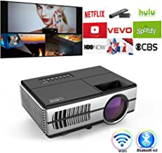 Mini Projector WiFi Bluetooth HDMI Portable Video Projector 2800 Lux Wireless Home Theater Outdoor HD Movie Projector with Built-in Speaker Support 1080P for Smartphone Gaming TV Box PS4 PC