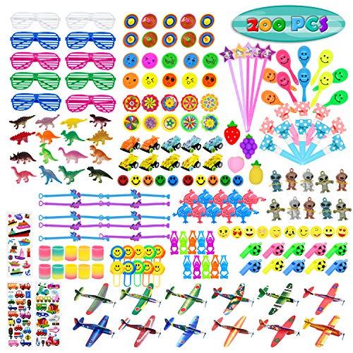Kissdream - Juego de 200 regalos de fiesta para niños, juguetes de relleno de piñata para fiestas de cumpleaños infantiles, premios de carnaval y recompensas en el aula escolar, caja de tesoros para niños y niñas