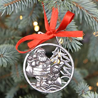 English Pewter Company 'Snowman & Santa' Luxury Pewter Christmas Tree Decoration Pendant Baubles Ornament [CHR001]