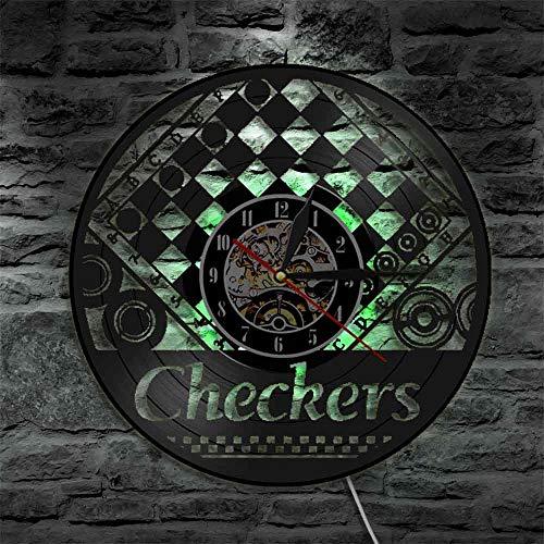 Reloj de pared con tablero de ajedrez y cuadros de ajedrez vintage, de vinilo, para decoración de pared, regalo para amantes del ajedrez, luces LED