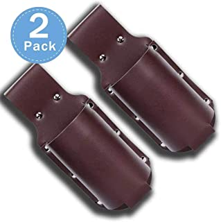 Beer Holster, Coffee Brown Leather Classic Outdoor Drink Hip Single Bottle Beverage Holder (2 Pack)