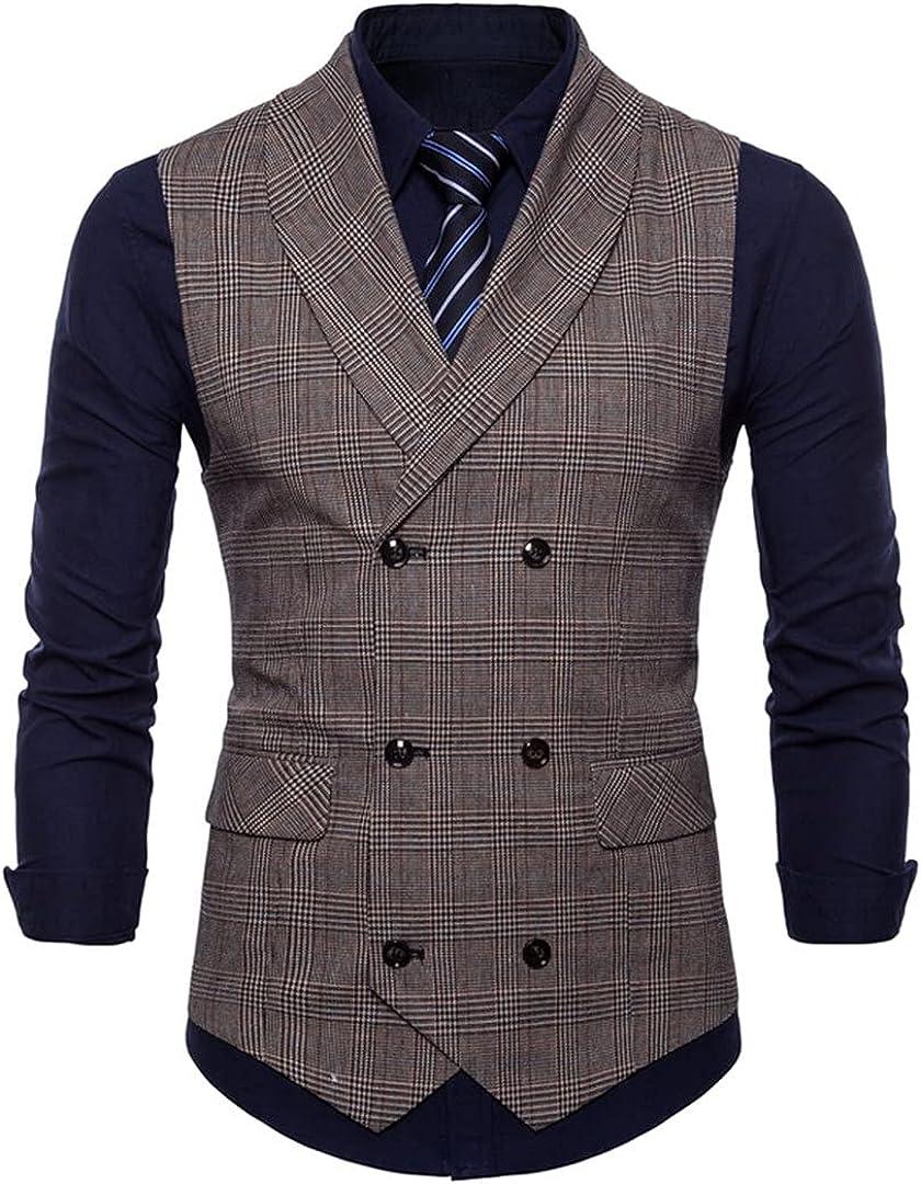 Spring Autumn Men's Lattice Suit Vest Jacket Casual Sleeveless Slim Stylish Large Size Vest