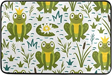 Mydaily Cartoon Frog Doormat 15.7 x 23.6 inch, Living Room Bedroom Kitchen Bathroom Decorative Lightweight Foam Printed Rug