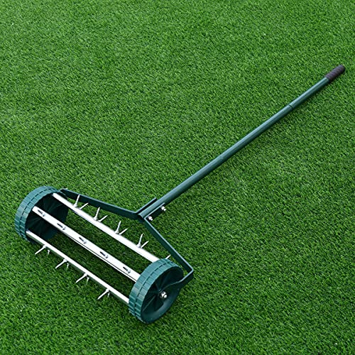 TANGZON Garden Rolling Lawn Aerator, Manual Grass Spikes Roller with 3...