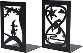 Book Divider, Desktop Bookshelf, Iron Practicial for Office Home Bookshelf,(Forest Elf Bookend + Hourglass Bookend)