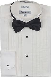 Adam Baker Men's Slim Fit Convertible Cuffs Formal Wingtip & Laydown Collar Tuxedo Shirt (Bowtie & Studs Included)