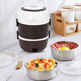 WUPYI Lunch Box,3 Layers 2L Portable Electric Heating Bento Lunch Box Food Storage Warmer Container Rice Cooker,110V 200W,Stainless Steel+PP