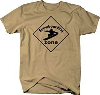 Snowboarding Zone Caution Sign Color Tshirt