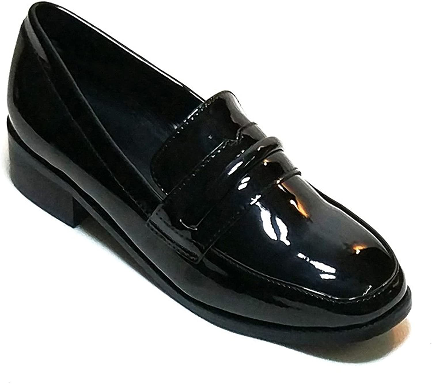 EAGSITY Women Penny Loafers Slip On Block Heel Patent Leather Dress shoes