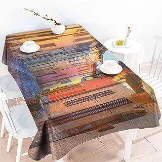 EwaskyOnline Fashions Rectangular Table Cloth,Italy Narrow Paves Street Among Old Houses in Town Serralunga DAlba Piedmont,Modern Minimalist,W54x90L, Pale Orange Brown Pink