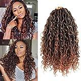Alimiriam New Goddess Locs Crochet Hair 6 Packs 14 inch Faux Locs Wavy Crochet Curly Hair Faix Locs Crochet hair with Curly Ends River Curls Crochet Hair (14 inch T1B/30#)