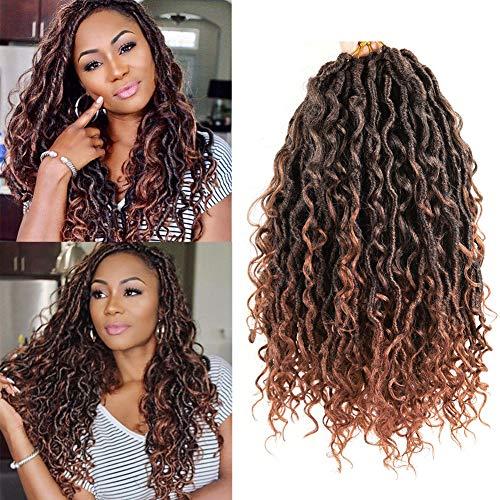 "Alimiriam New Goddess Locs Crochet Hair 6 Packs 14 inch Faux Locs Wavy Crochet Curly Hair Faix Locs Crochet hair with Curly Ends River Curls Crochet Hair (14"" 6packs T1B/30#)"