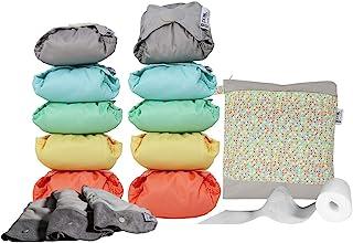 Close Pop-in Pañales Lavables de Tela- 10 Pcs Pañales Lavables de Viscosa de Bambú para Bebé, Pañales Ajustable y Reutilizable para Bebés con Bolsas de Almacenamiento,colores pastel