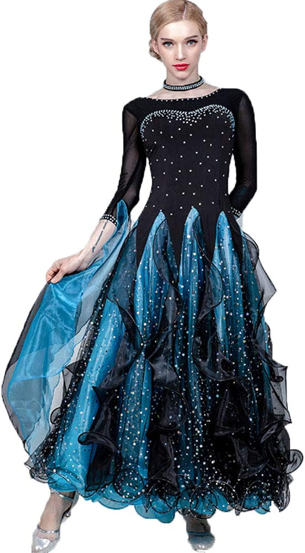 Women's Liturgical Dance Dress Vintage Clothing Pleated Skirt SeeThrough Mesh Ribbon Sequined Long Sleeve Maxi Dress for Ballroom Ballet Latin Waltz Rumba