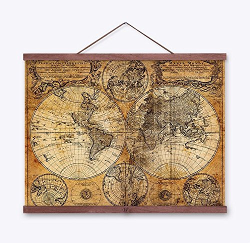 Kingken Póster Vintage Bola Viejo Mundo Mapa náutico
