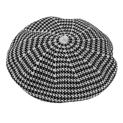 IRCATH Cappello di Zucca a Righe Tutto-fiammifero di Moda Femminile Berretto Lavorato a Maglia a Doppio Strato Autunno e Inverno-C4
